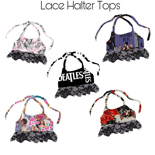 Mix Tape 2 Lace Halter Crop Tops