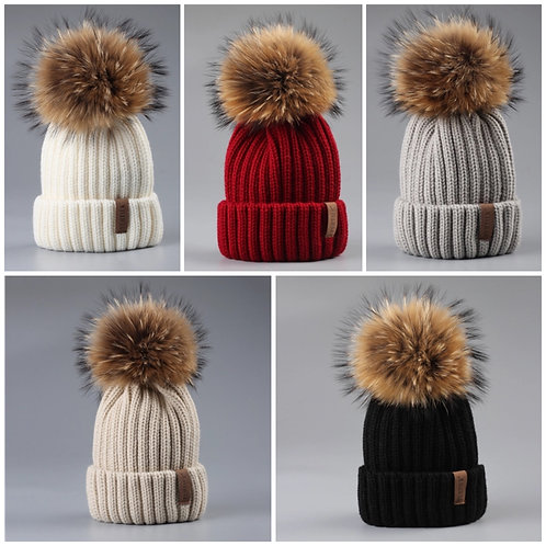 Knit pom pom beanies (adults & kids)