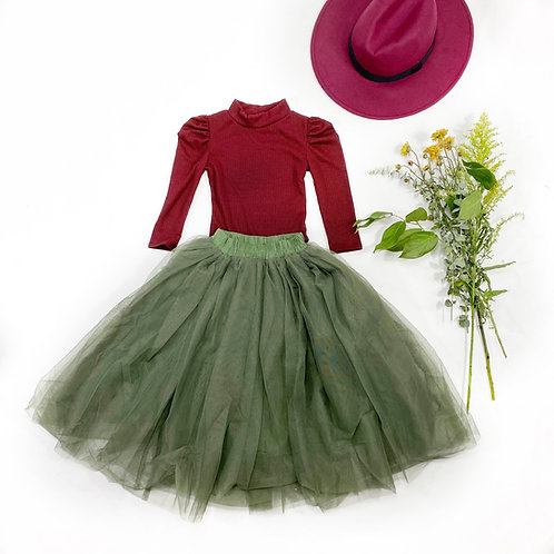 Maxi tulle skirts in green Olive