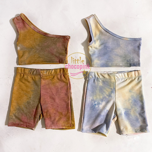Tie dye one shoulder biker set
