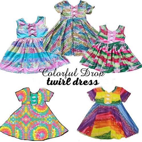Colorful drop twirl dress