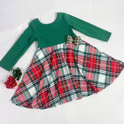 Green red plaid twirl dress