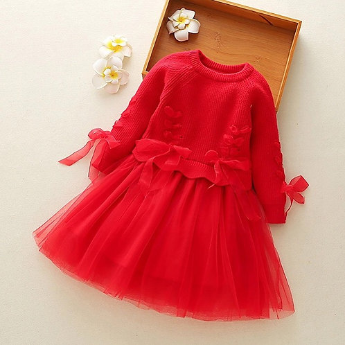 Tie up Sweater tulle dress