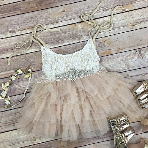 Helena tulle dress (champange and blush)