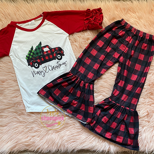 Christmas tree plaid set