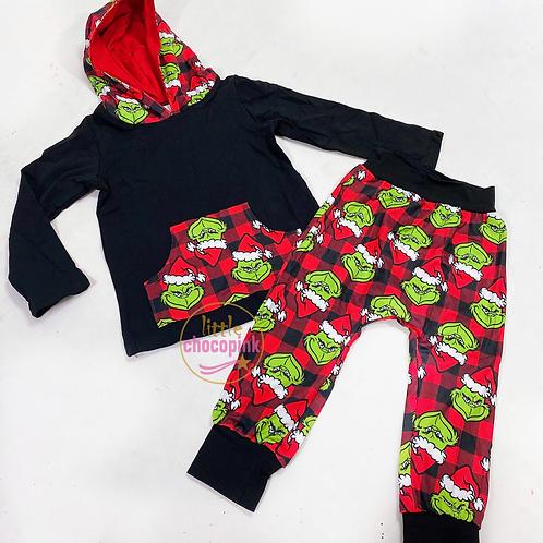 Grinch hoodie set