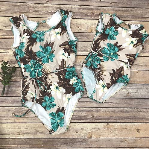 Hibiscus Aqua onepiece suit