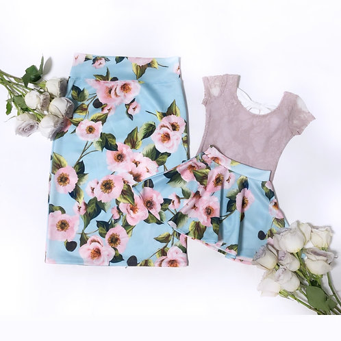 Mommy and me Floral skirts ( aqua/ blush)