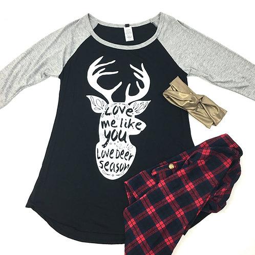 Love me deer raglan tees