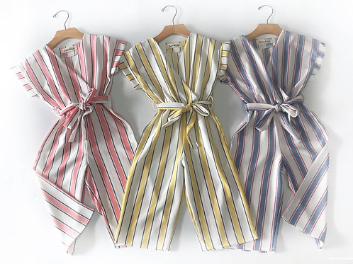 Striped Capri rompers