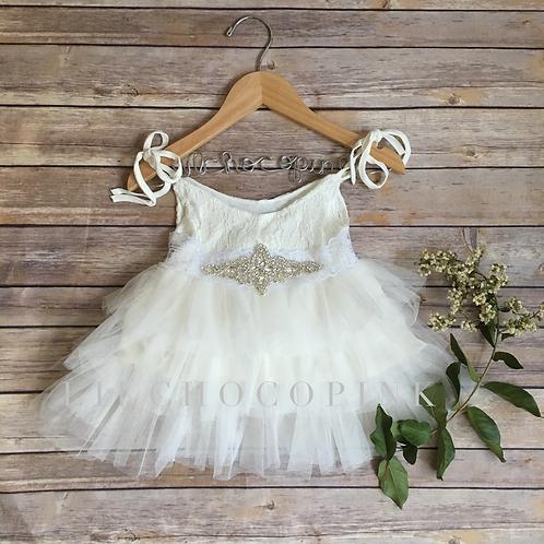 Helena tulle dress in white
