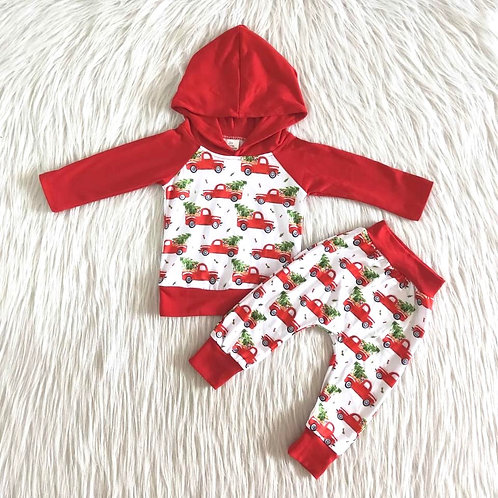 Christmas truck hoodie set