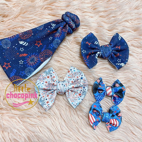 Red white blue bows