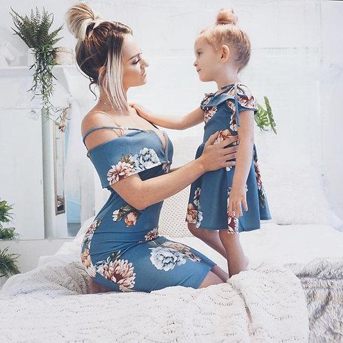 Mommy & me Harvest dress (pink/ blue)