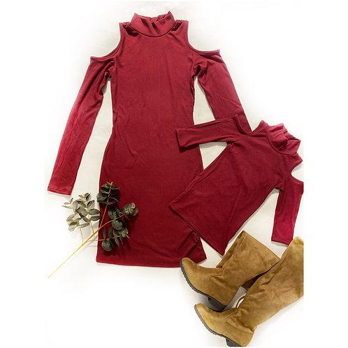 Cold shoulder ribbed dress ( olive / maroon)
