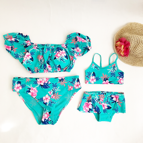 Turquoise floral suits -2 piece Mommy & Me