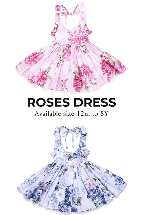 Roses dress ( blue or pink)