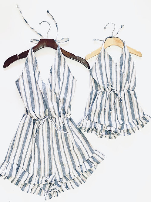Aulani Stripe rompers -denim
