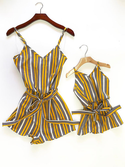V neck Stripe rompers mommy & me - yellow