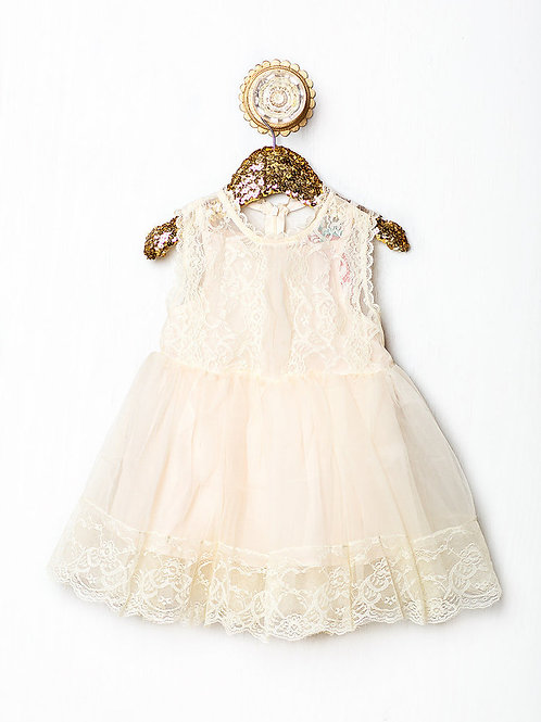 Abby lace dress (pink or beige)