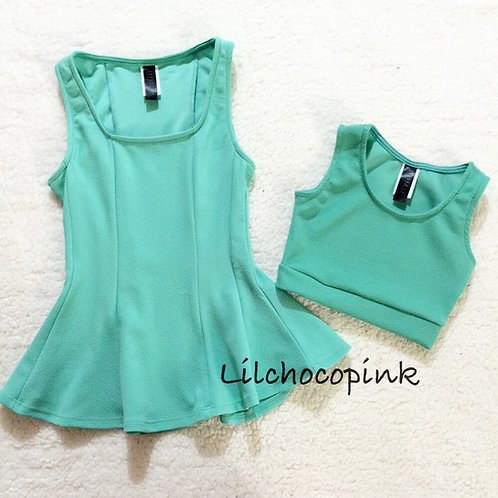 Minty mommy and me tops