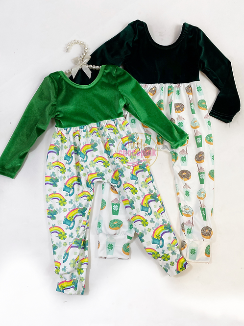St. Patrick's alleycat rompers