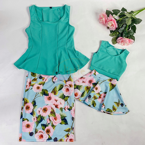 Mommy & me floral skirts