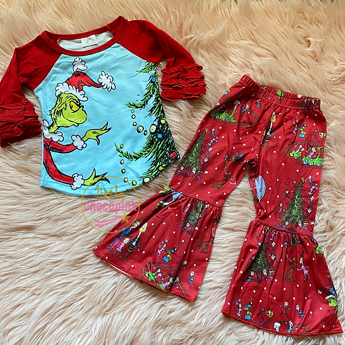 Grinch red bell set