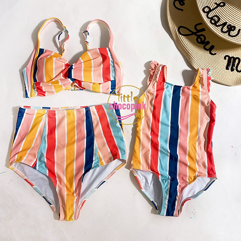 Rainbow stripes 2 piece suits