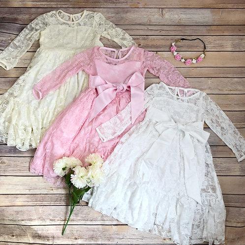Janice maxi dress (ivory, white, pink)