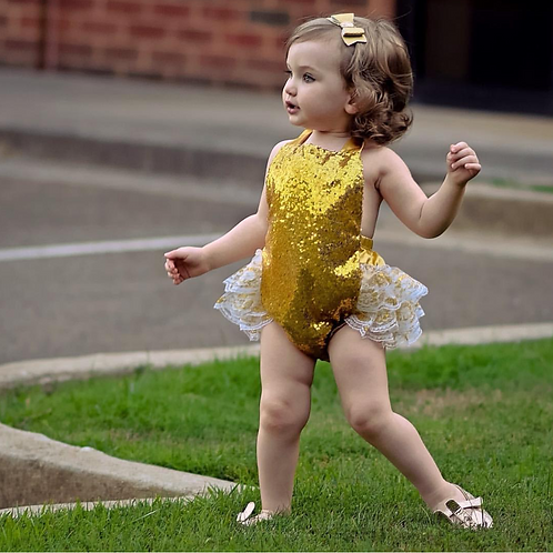 Gold sequins Lace Rompers