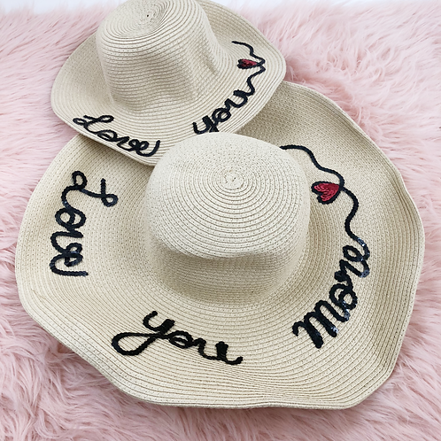 Mommy & me Love you straw hat