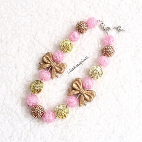 Pink / Golden bows necklace