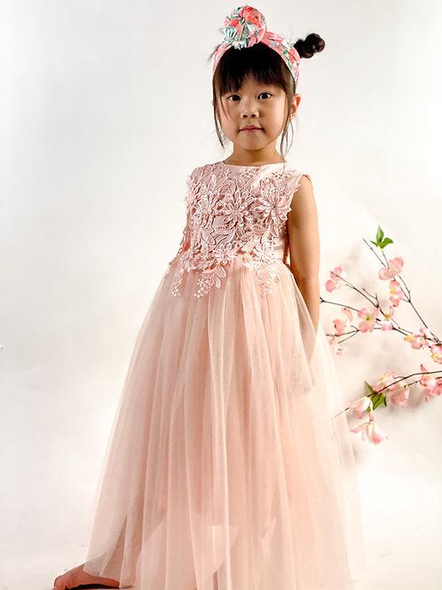 Peach blossom maxi dress