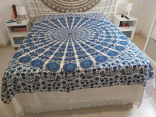 Cubre Cama Mandala Azul
