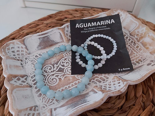 Pulsera Mineral Aguamarina