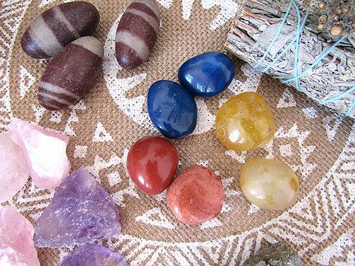 Piedras Naturales (Jade Rojo/ Onix Amarillo/Agata Azul)