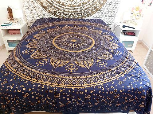 Cubre Cama Mandala Azul y Dorado