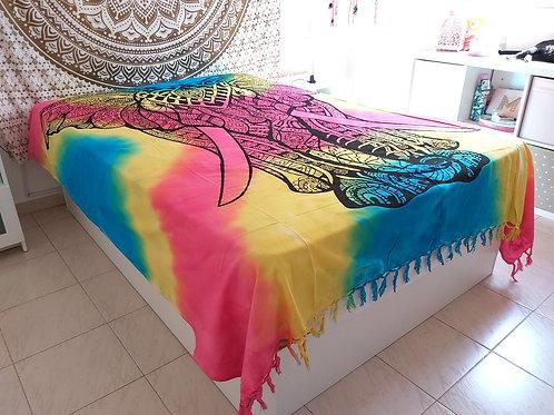 Cubre cama Elefante Multicolor Flecos