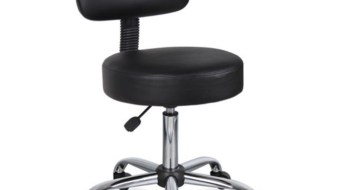 Medical Stool with Backrest and Polished Chrome Base