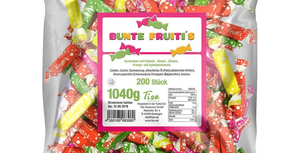 Bunte Fruitis Kaustangen 200 Stück