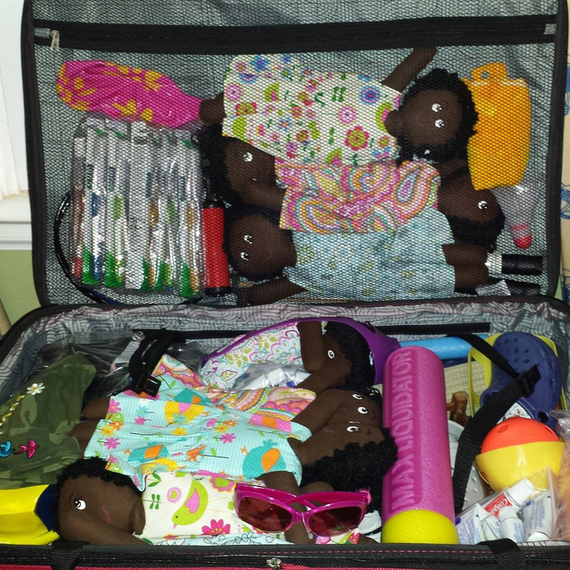 A suitcase of donations.