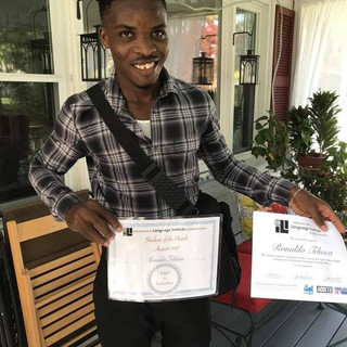Ronaldo, one of the students in the Language Hangouts program with Haiti Partners that I coordinated, received acceptance into a university in the U.S. which he credits having been a participant in the Language Hangouts Program with being a huge part of this happening for him!!