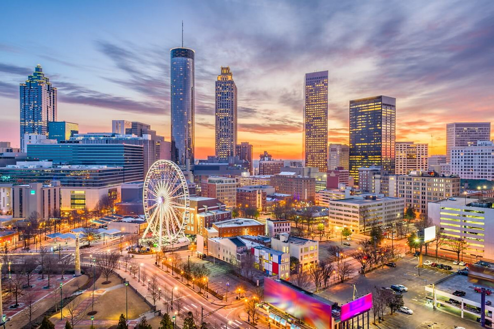 Atlanta skyline overlooking Centennial Park