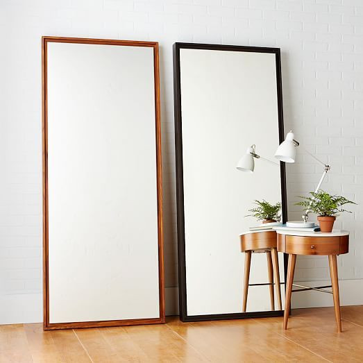 Floating Wood Floor Mirror - White Lacqu