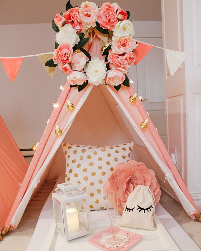 A Pink Teepee Sleepover Birthday Party -