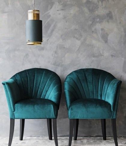 The Lovers Velvet Chair - Ocean Deep Gre