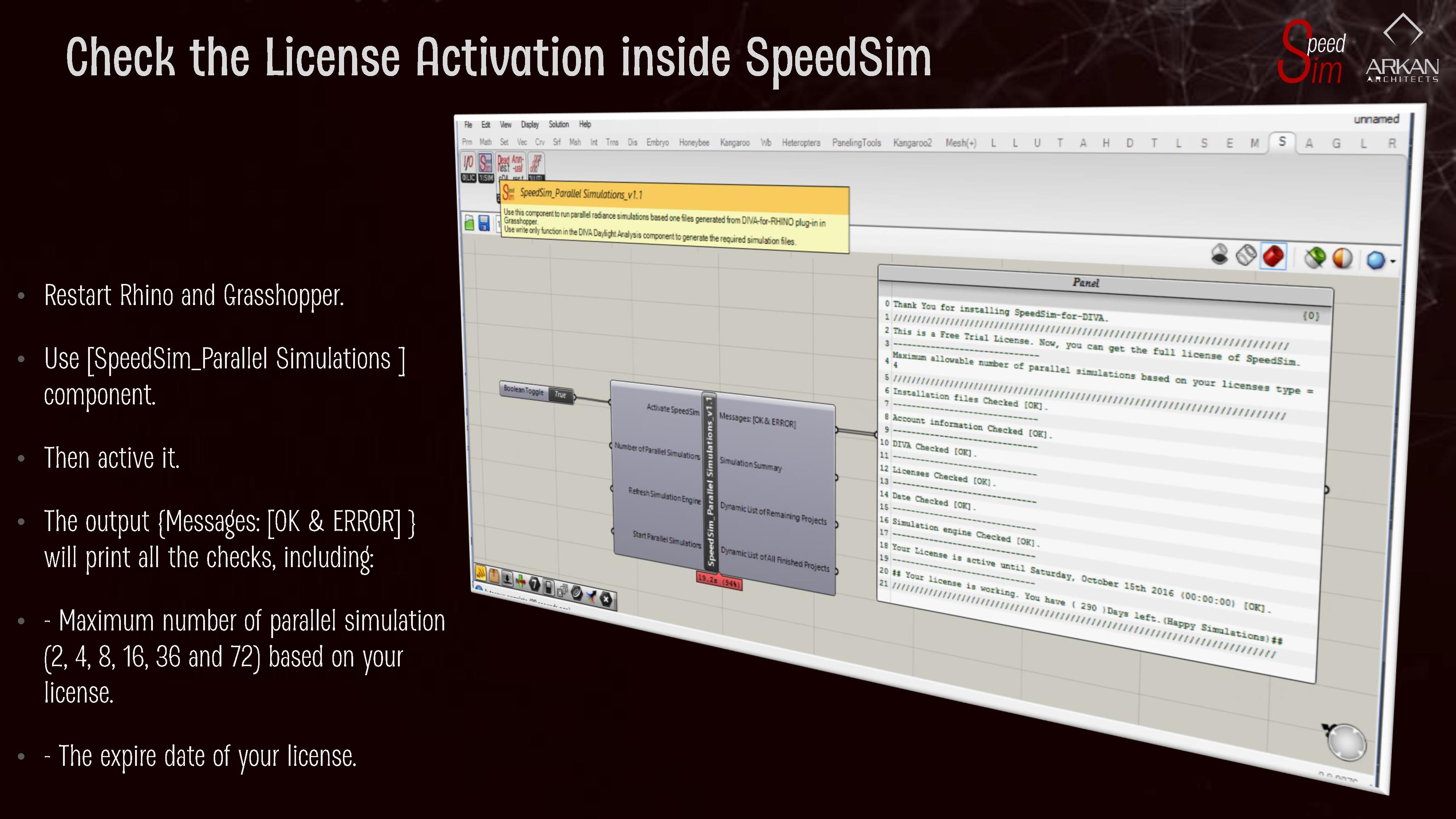 Check License Activation in SpeedSim
