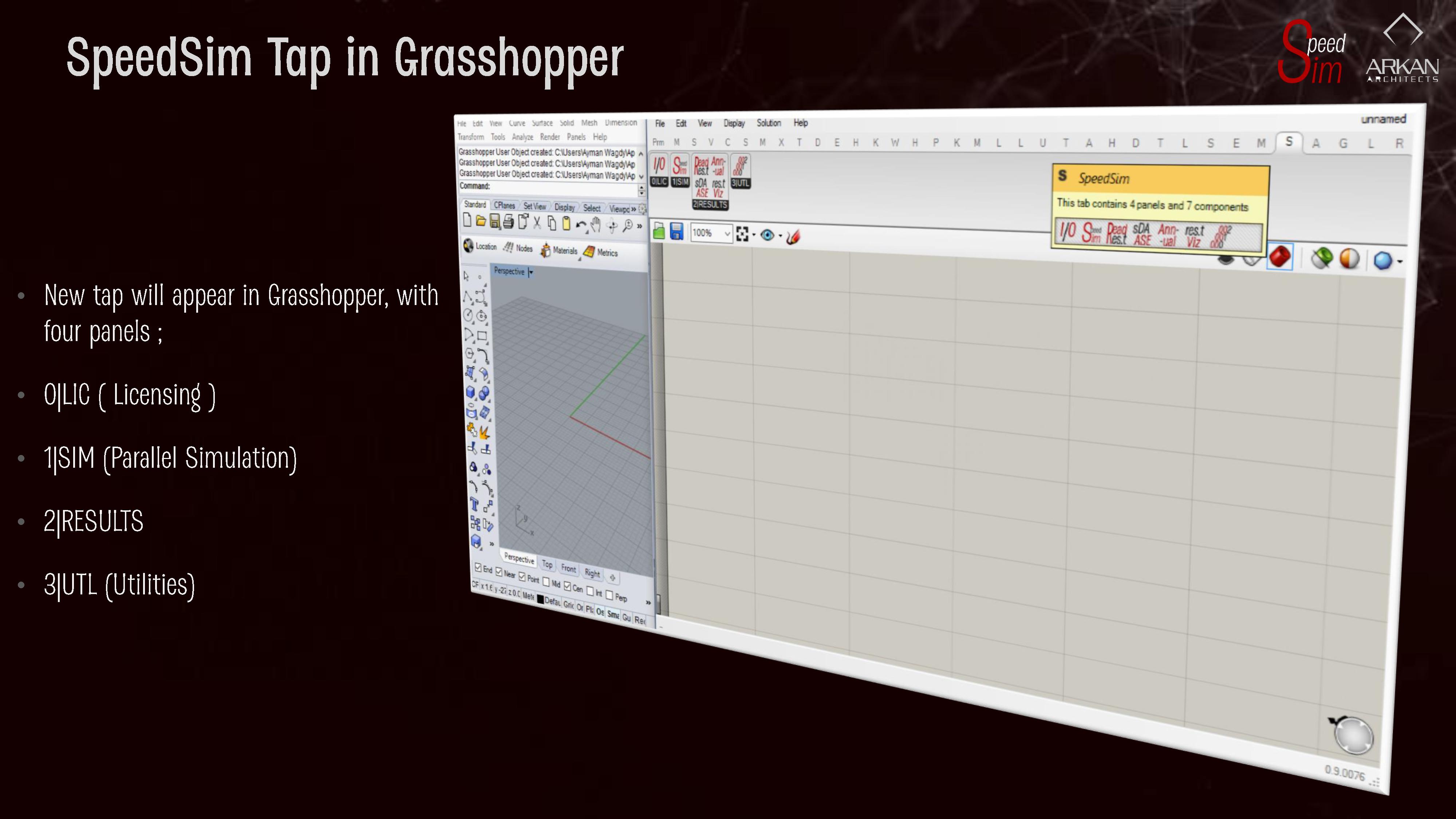 SpeedSim Tap in Grasshopper