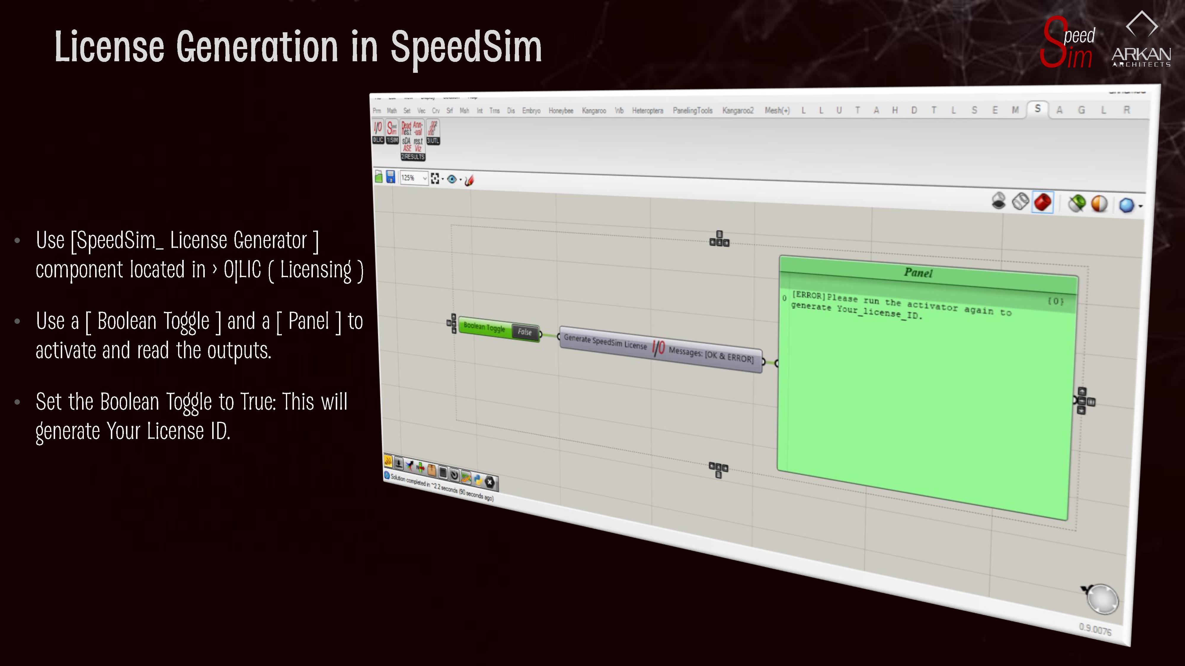 License Generation in SpeedSim